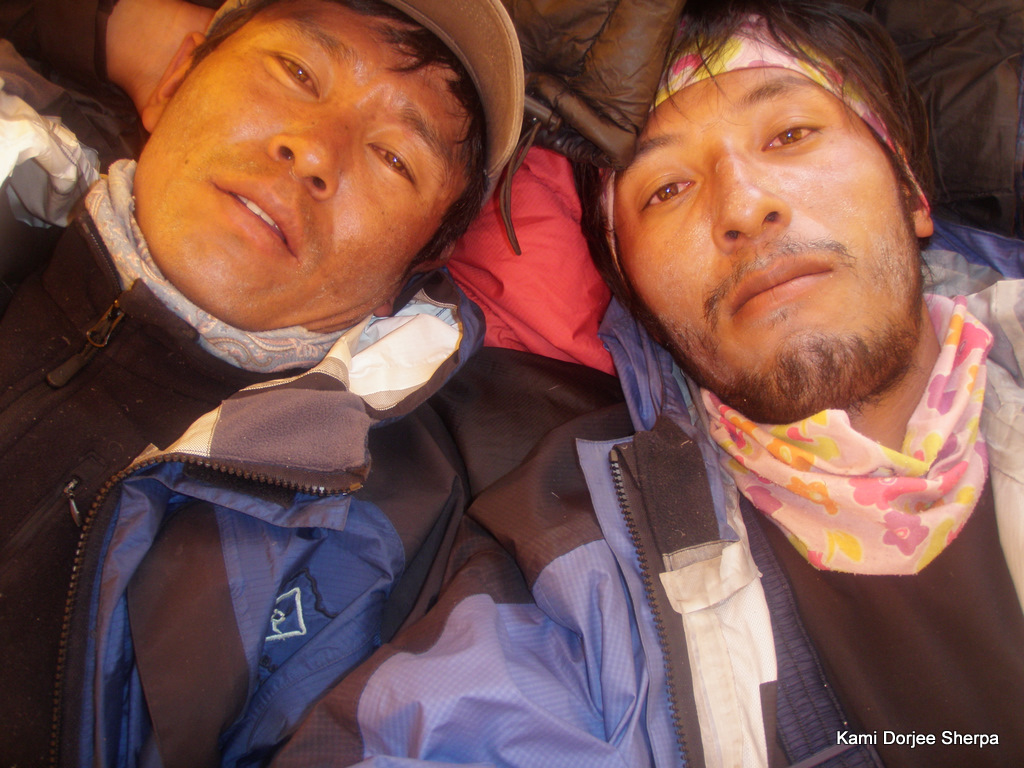 Damai and Kami relaxing at Camp II (photo by Kami Sherpa)