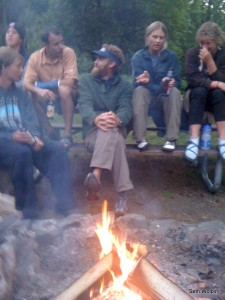 Talking runnin' -  night before at Beacon Rock State Campground