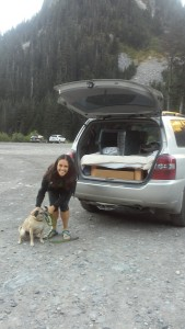 Thank you Jessica for the ride to Snoqualmie Pass! (and reluctant doggie).