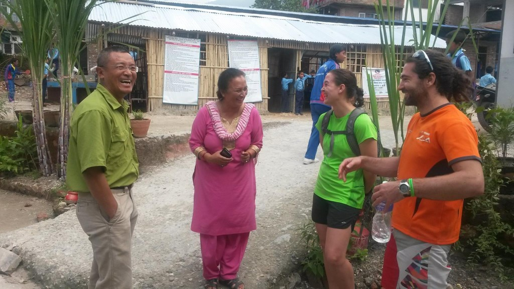 With Annapurna Trail Race Participants Amy Markovich and Fabien Dauzou at Budhanilakanta school - talking with Ast. Vice Principal Ms. Shobha Cheetri and Dorjee Sherpa about how WOV can help the school.