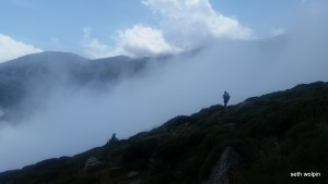 Descending into the clouds