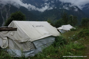 High up we find tents from the earthquake are still in use in some communities